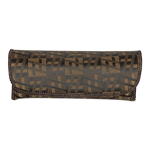 Stylish Glasses Case - Chocolate Brown Checkered Design Semi Hard Protective Holder Pouch for Readers, Sunglasses and Eyeglasses with Front Snap Closure - by - Checkerboard Sunglasses