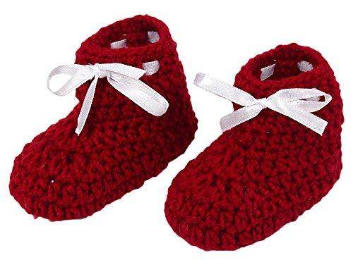 Love Crochet Art Recién nacido Prewalker Baby Red Zapatos Calcetines Infantil Handmade Booties rojo
