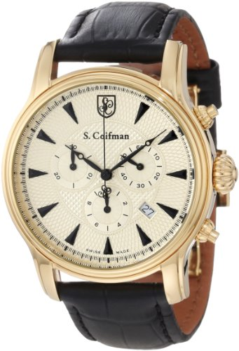 S. Coifman Men's SC0222 Chronograph Champagne Textured Dial Black Leather Watch