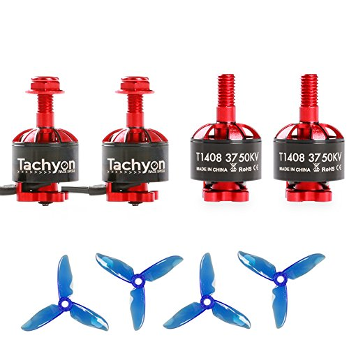 iFlight 4pcs Tachyon T1408 3750KV 2-4S Brushless Motor with 3 Inch Props for 130-180mm RC Racing Micro Drone Multirotor Quadcopter
