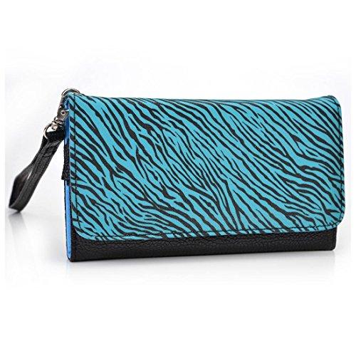 Zebra Print Phone Wristlet Wallet Case With Card Holder For Lg 840G  Safelink Wireless
