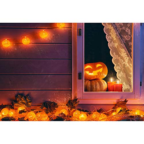 Renaiss 5x3ft Halloween Backdrop Wooden Board Wall Indoor Lace Curtain Glowing Pumpkin Head Family Children Happy Halloween Party Decoration Background Portrait Photography Studio Props -
