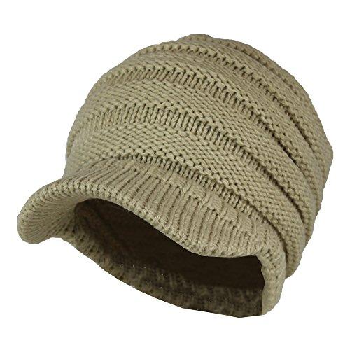 61d647d7c4c Galleon - Tan Cable Ribbed Knit Beanie Hat W  Visor Brim
