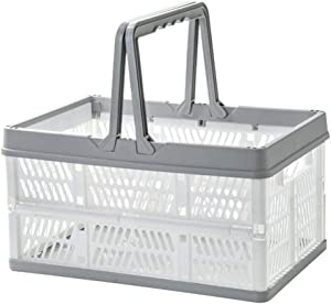 Mornenjoy Collapsible Plastic Basket, Folding Storage Crates, Grocery Shopping Baskets with Handles, Stackable Storage Containers Bins, Picnic Baskets for Milk Toys Food Clothes (L, Grey-White)