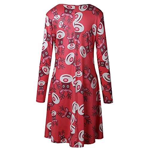 Camiseta Ropa A Swing Dress Rojo Mujer Largas Ciervo Line Mangas de para Navidad Vestido Nieve Minetom Niñas Impresión 6UqASwU