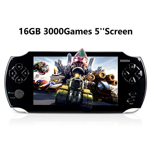 "JHSD Handheld Game Console, Portable Video Game Console, 16GB 5 ""Screen 3000 Classic Games, Support Multiple Game formats, Black"