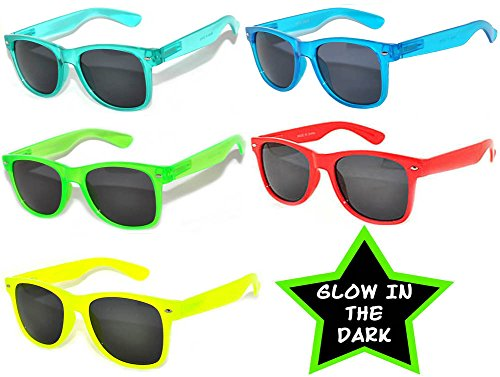 5 Pack Vintage Smoke Lens Sunglasses Retro 80's Colored - Dark Glow The In Lenses