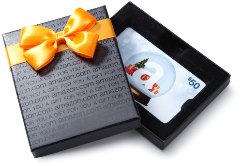 Amazon.com $50 Gift Card in a Black Gift Box (Holiday Globe Card Design) ()