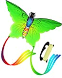 Aitey Rainbow Butterfly Kites, Easy Fly Kites for Kids and Adult, One of the Best Outdoor Games and Activities, with 165'' of Line and Handle - Great Beginner, Amateur Kite (Green)