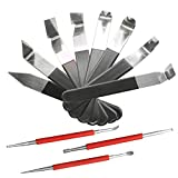 11 Pack Pottery Tools, TooTaci Stainless Steel Carving Shaping Knives Clay Sculpture Hand Tools Craft Trimming Artist Ceramic Tools Set for Carving, Shaping, Clay Sculpture, Modeling