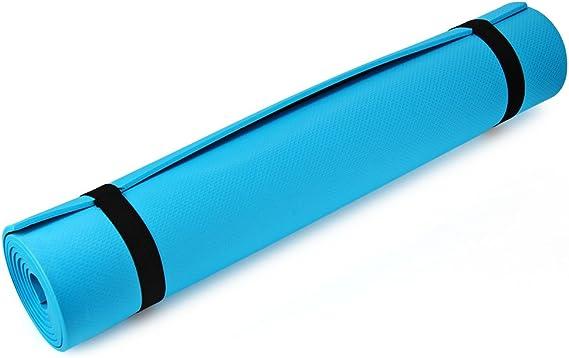 Colchoneta para yoga, de goma EVA grueso, 173 x 61 x 0,6 cm, antideslizante, ligera, colchoneta para hacer ejercicio, azul: Amazon.es: Deportes y aire libre
