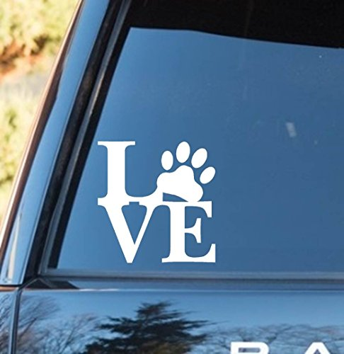 LOVE Pet Paw Print Decal Sticker (Terrier Paw Prints)
