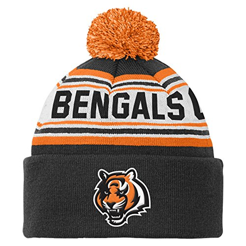 NFL Cincinnati Bengals Youth 8-20 Cuffed Knit Hat with Pom, Youth One Size, - Hat Youth Knit