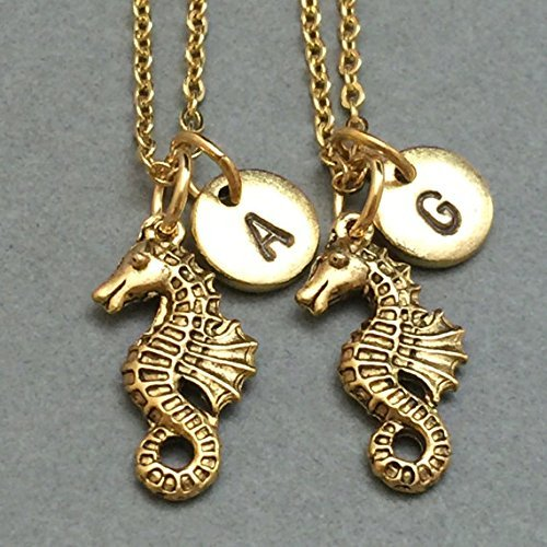 Best friend necklace, seahorse necklace, animal necklace, bff necklace, sister, friendship jewelry, personalized, initial, monogram