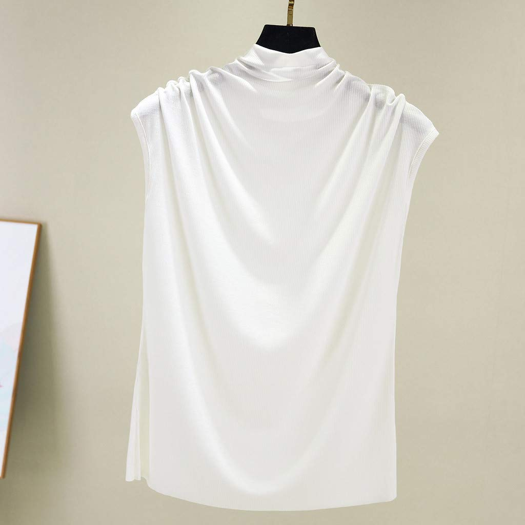 NUWFOR Women Turtleneck Sleeveless Cotton Solid Casual Loose Tunic Top Tee Shirt Tank(White,US M Bust:31.4-35.4'') by NUWFOR (Image #2)
