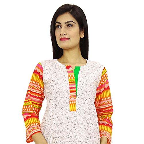 Étnica Kurti diseñador indio de Bollywood mujeres vestido casual Toptunic Off blanco y naranja