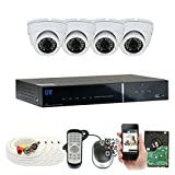 Cheap 4 Channel 960H Security Camera System with 4 x 900TVL Weatherproof CCTV Surveillance Dome Cameras