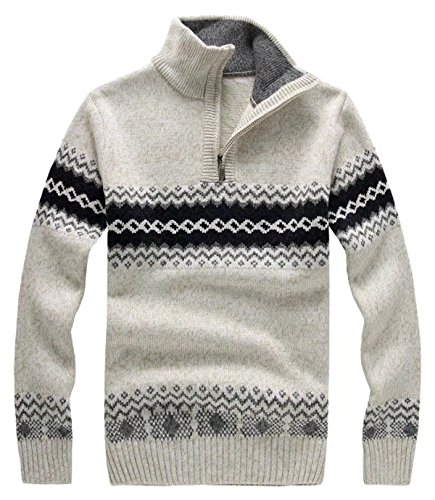 EMAOR Men's Stylish Quarter Zip Knit Sweaters Pullover