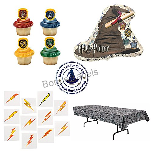 [02 Harry Potter themed decorations and party favors - balloon, cupcake rings, tablecover, tattoos, sticker] (Sorting Hat From Harry Potter)