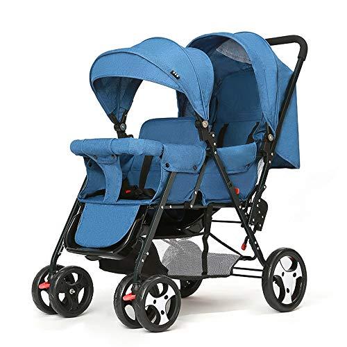 Tandem Stroller Foldable, Double Stroller for Infant and Twin Stroller Toddler Adjustable Backrest Footrest 5 Points Safety Belts,Blue