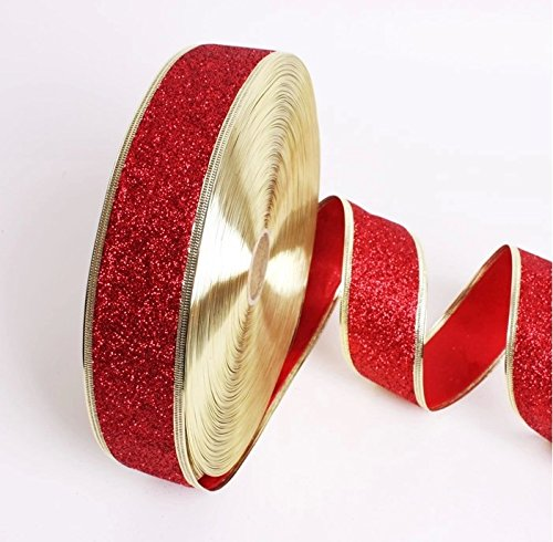 Taffeta Sash Colors Light (Maphissus Christmas Ribbon Wired for Tree Christmas Decoration 2m=78 Inch (Gold Red))