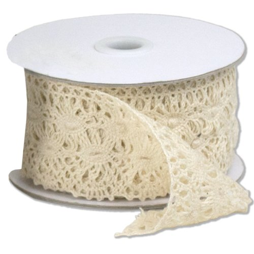 2 1/3'' wide x 10 yards Ivory Floral Pattern Cotton Crochet Lace Ribbon for Decorating, Floral Designing and Crafts by AK TRADING