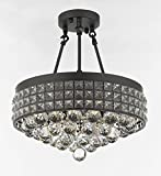 Semi Flush Mount French Empire Crystal Ball Chandelier Chandeliers Lighting , Ht 17 X Wd 15 , 4 Lights , Crystal Iron Metal Shade For Sale