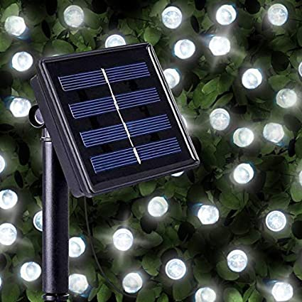 Cadenas de 200 Luces Solares Blancas Brillantes LED, luces LED solares exteriores para navidad de