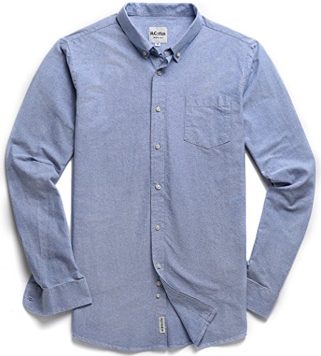 MiCotton Men's Solid Color Oxford Long Sleeve Button Down Regular Fit Casual Shirt