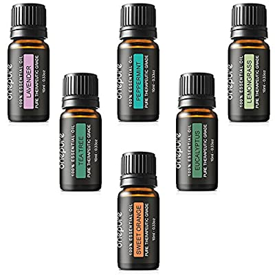 Onepure Aromatherapy Essential Oils Gift Set, 6 Bottles/ 10ml each, 100% Pure& Therapeutic Grade (Lavender, Tea Tree, Eucalyptus, Lemongrass, Sweet Orange, Peppermint)
