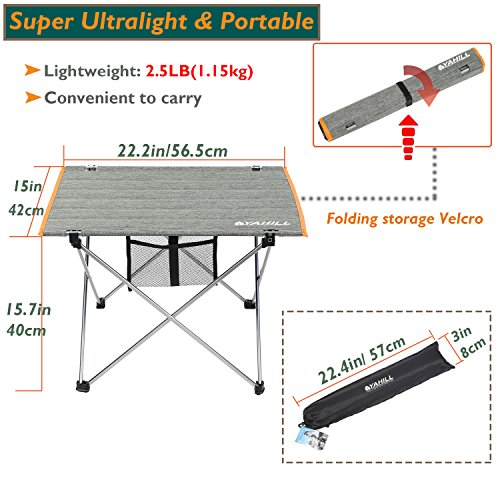 YAHILL Aluminum Folding Collapsible Camping Table Roll up 3 Size with Carrying Bag for Indoor and Outdoor Picnic, BBQ, Beach, Hiking, Travel, Fishing (Polyester Fiber Cover- L)