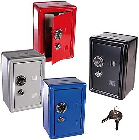 Hucha metálica con forma de caja de seguridad, 2 llaves con cerradura de combinación, para monedas y dinero en efectivo: Amazon.es: Hogar
