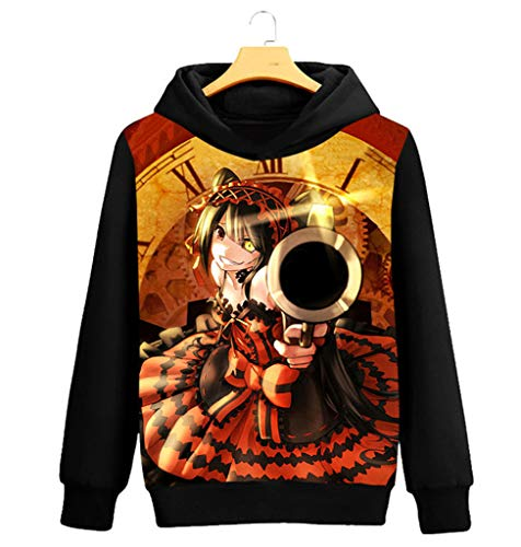 Negro Hoodie Pullover Capucha Outwear Cosplay Con 14 Disfraz Cosstars Anime Sweatshirt Suéter Date Live Sudaderas A Abrigo UqxZIv
