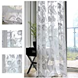 Cheap White Flower Sheer Curtains Voile – Anady Top 2 Panel White Beautiful Floral Sheer Drapes Grommet 84 inch Length(2018 NEW)