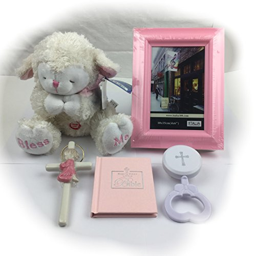 "Bless this Baby Girl: Adorable Keepsake Gift Basket Set including 5 items: 8"" Bless Me Praying Lamb plush, Baby's First Bible, Crib Wall Cross, Rattle, Picture Frame with gift box & bow bundle"
