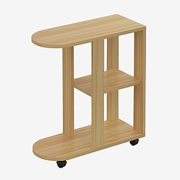 Amazon De D L Holz Wasserdicht Beistelltisch C Form Mit Radern