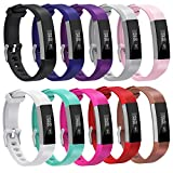 For Fitbit Alta HR Bands, Henoda 10PCS Replacement Silicone Wristband Accessories for Fitbit Alta HR Smart Watch Strap, Women Men Kids Girls Style (10 Colors)