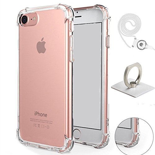 iPhone 7 Case, Luxury Apple iPhone 7 Crystal Clear Shock Absorption Technology Bumper Camera Protection Soft TPU Cover with Ring Holder and Neck Lanyard Case for iPhone 7 4.7 Inch (2016) - Clear
