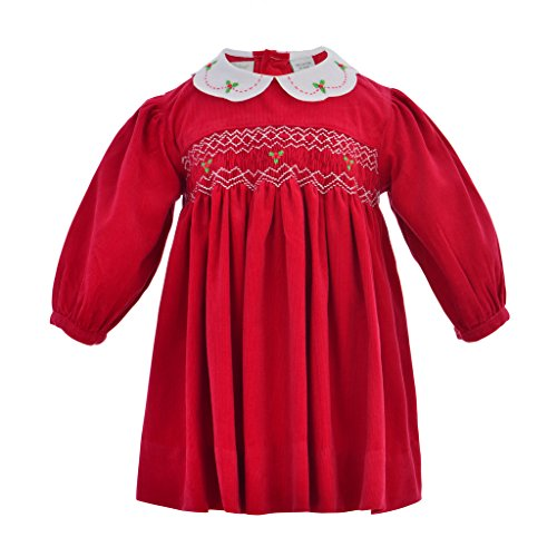 Carriage Boutique Baby Girl Corduroy Long Sleeve Dress - Red, 6M