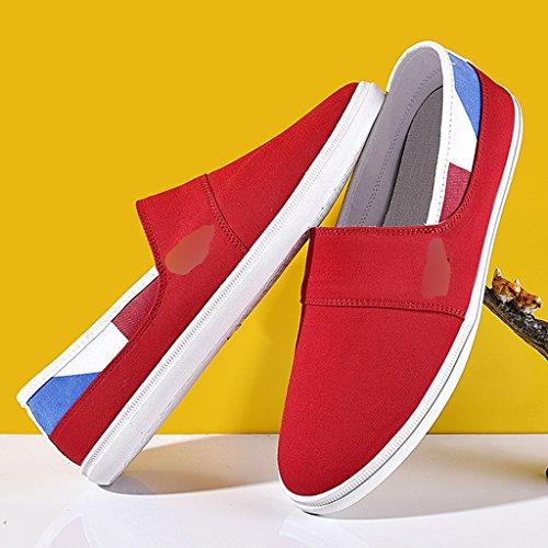Scarpe tendenza da Gray Color YaNanHome traspirante di Scarpe scarpe Red coreano Espadrillas da Size casual da uomo 43 uomo stile tela basse ginnastica 8qOEqw4