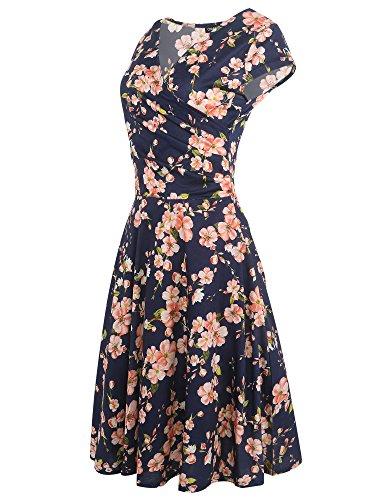 Women's Naive Sleeve Dress Print Swing V Summer Neck Shine Casual Navy Cap Blue 4Arxq5Aw