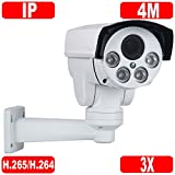 GW Security H.265/H.264 4MP HD 2592 × 1520p @30FPS Real-time IP High Speed Onvif Network Bullet PTZ Camera 3X Optical Zoom Waterproof Outdoor/Indoor Review