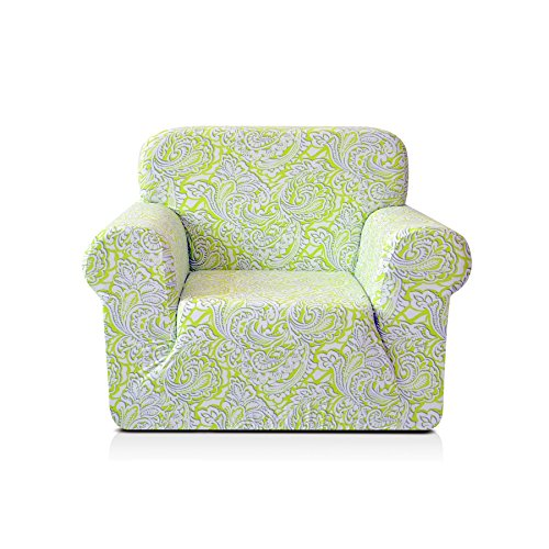 CHUN YI 1-Piece Stylish Printed Polyester Spandex Fabric Armchair Slipcover Soft Elastic Sofa Couch Cover for 1 Seat Arm Chair (Chair, Green)