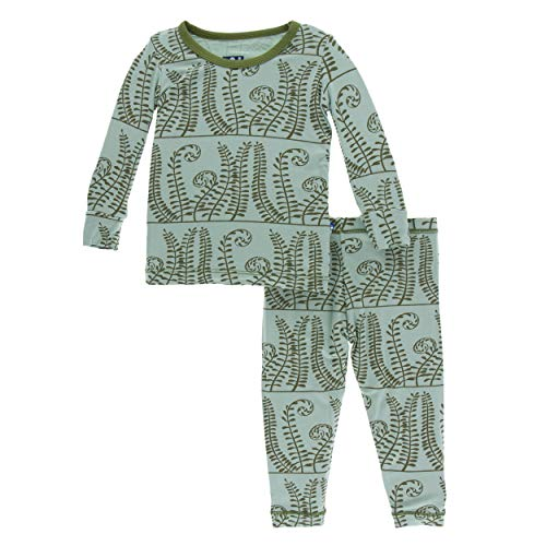 Kickee Pants Little Boys and Girls Print Long Sleeve Pajama Set- Shore Ferns, 6-12 Months