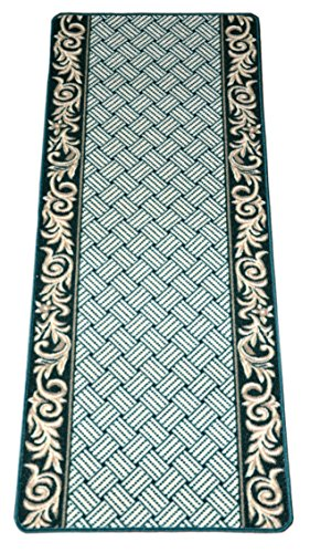 Hunter Flooring - Dean Non-Skid Washable Carpet Rug Runner - Hunter Green Scroll Border - Length: 5 Feet