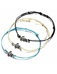 LAIMIO 3PCS Beach Anklets -Vintage Wax Rope Turtle Anklets Barefoot Tricolor Turtle Foot Chain
