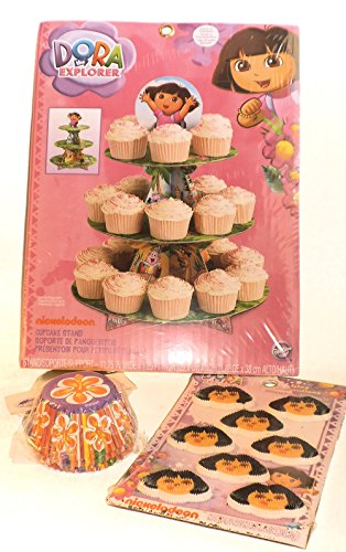 Dora the Explorer Theme Party Supplies - Birthday or Party - Treat Stand, Baking Cups, & Icing Decorations