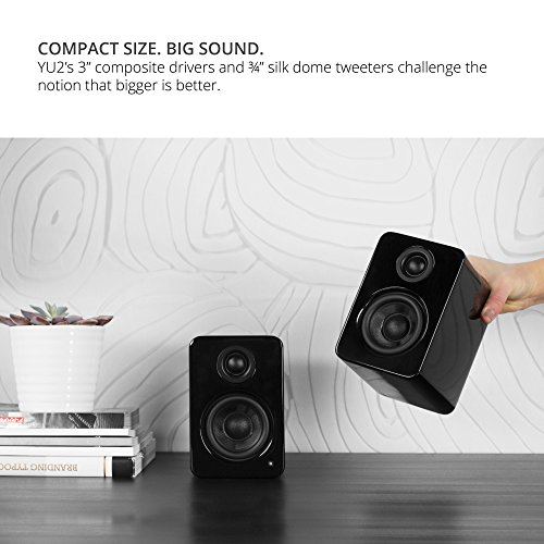 """Kanto 2 Channel Powered PC Gaming Desktop Speakers – 3"""" Composite Drivers 3/4"""" Silk Dome Tweeter – Class D Amplifier - 100 Watts - Built-in USB DAC - Subwoofer Output - YU2GB (Gloss Black)"""