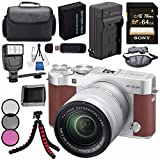 Fujifilm X-A3 Digital Camera w/ 16-50mm Lens (Brown) 16531647 + NP-W126 Lithium Ion Battery + External Rapid Charger + Sony 64GB SDXC Card + Case + Tripod + Flash + Card Reader + Card Wallet Bundle