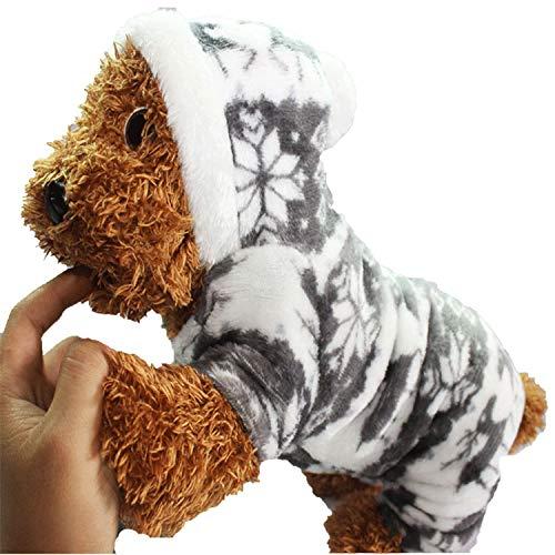 The Winter Snowflake Soft Fleece Dog Clothes Pet Dog Dress Pattern Coral Velvet Deer Christmas Puppy Coat Four Ha,Gray,XXL